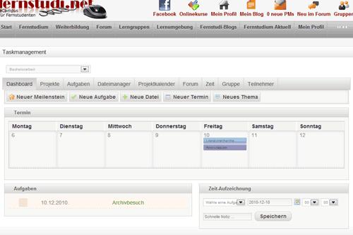 Die Oberfläche des Tools zum Projekt- und Lernmanagement auf fernstudi.net