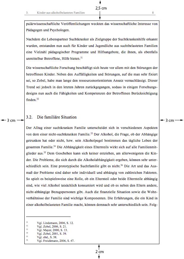 Satzspiegel einer wissenschaftlichen Arbeit