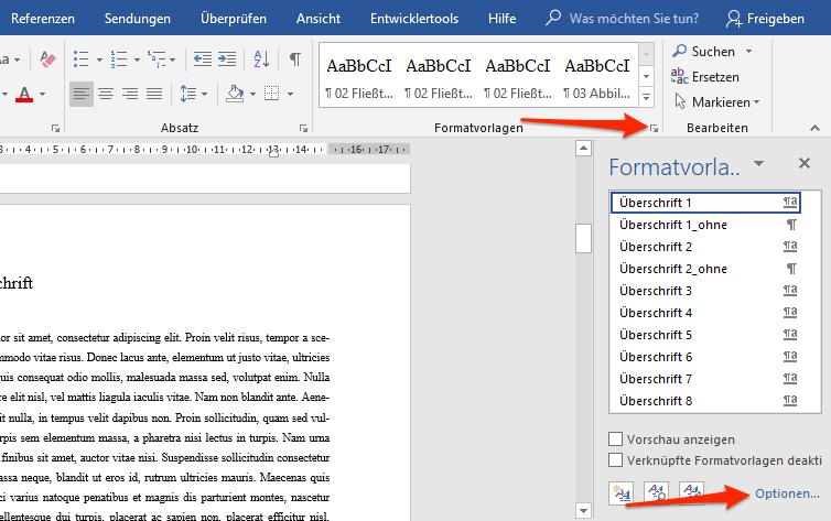 Menüleiste in Word, Formatvorlagen