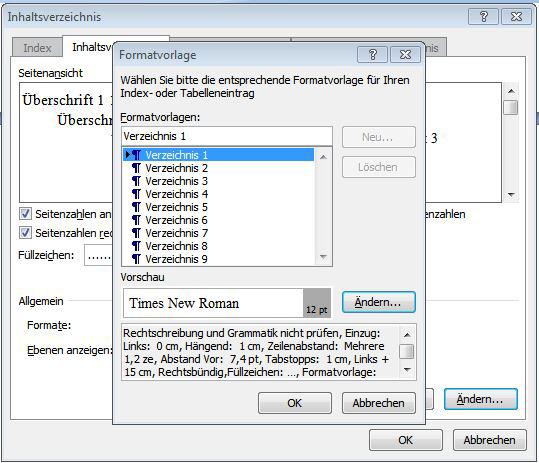 Reiter 'Inhaltsverzeichnis Vorlagen'