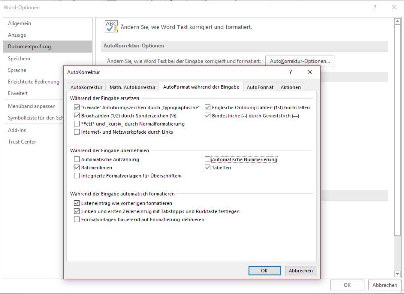 Microsoft Word Optionen