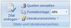Quellenverwaltung Word 2007